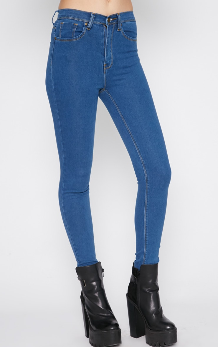 Lowri Mid Wash Rolled Up High Waist Skinny Jean  3
