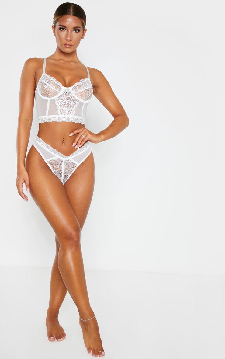 White Lace Underwired Longline Bra 4