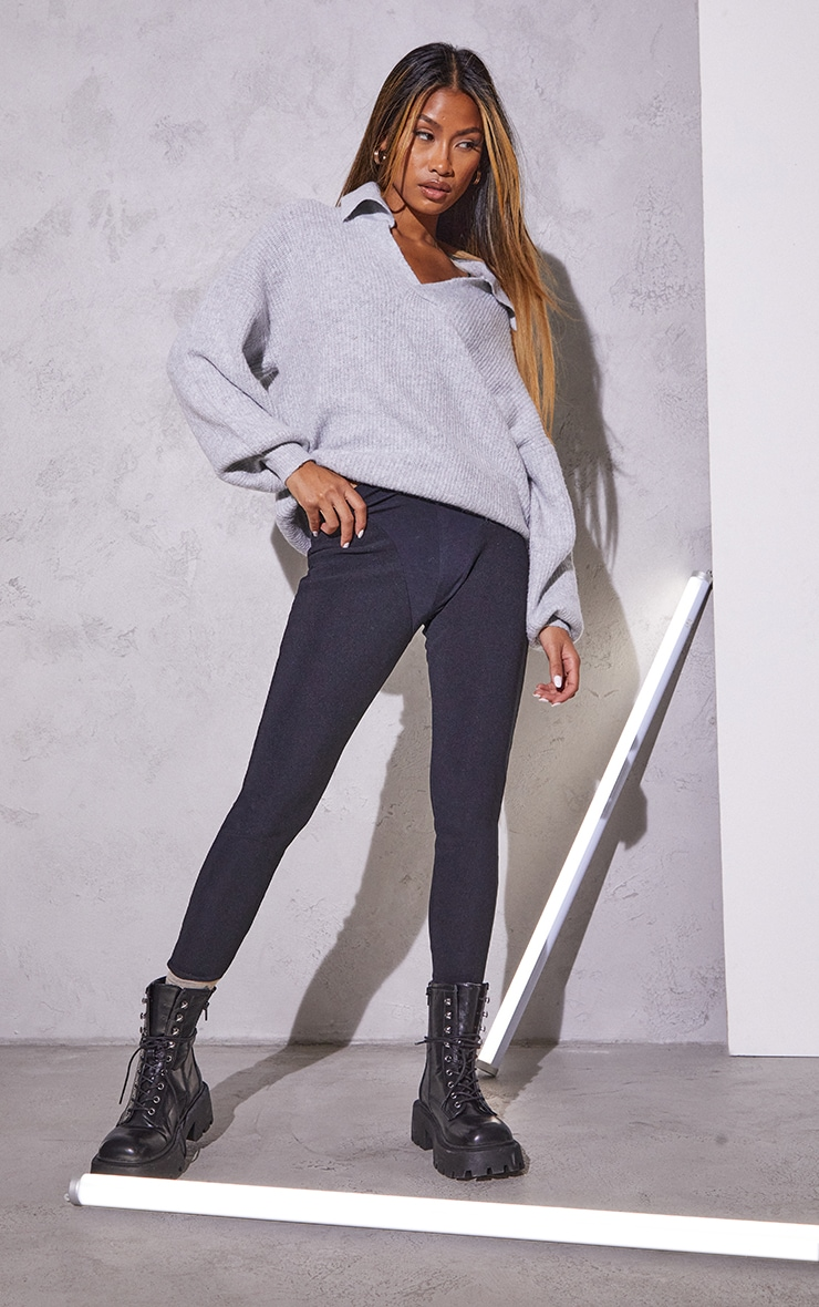 RENEW Light Grey Knitted Deep V Collared Sweater 3