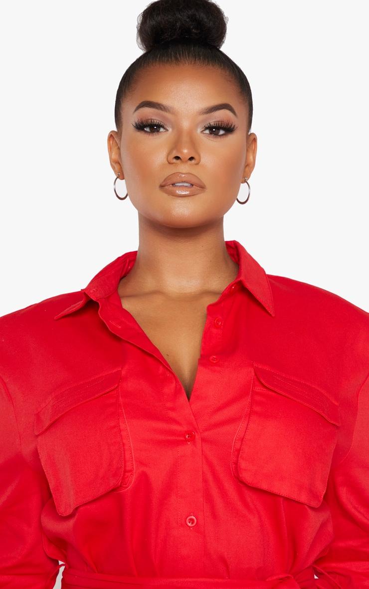 Plus Red Utility Shirt Dress 5