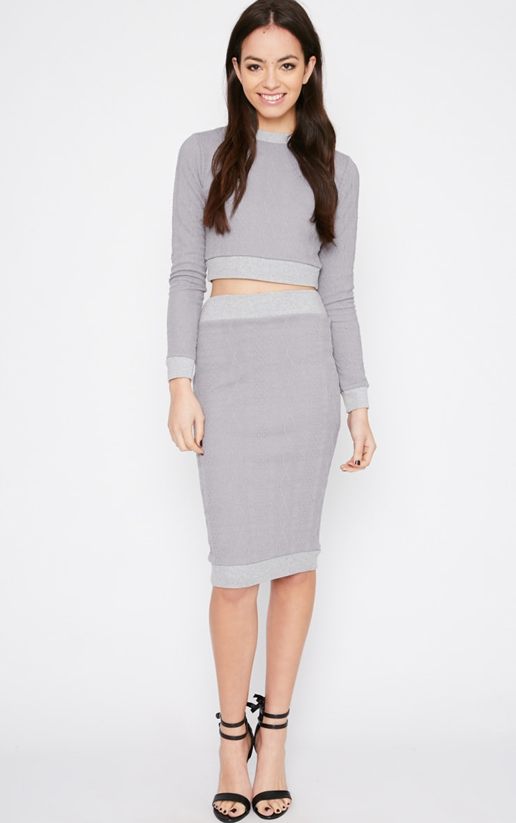 Deni Grey Cable Knit Crop Sweater  3