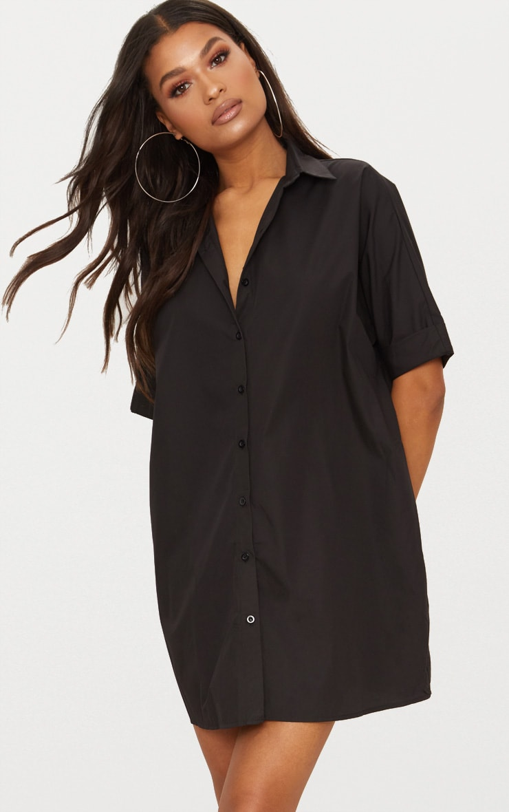 Black Oversized Short Sleeve Shirt Dress 1