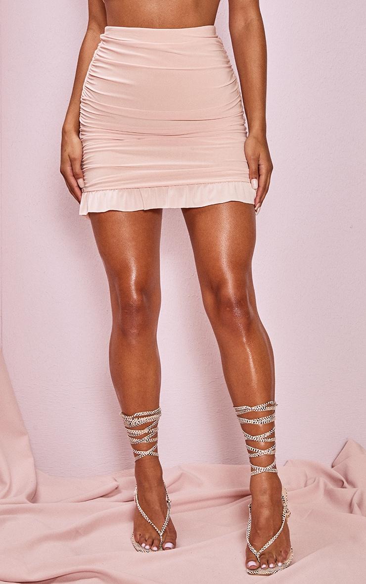 Blush Slinky Ruched Side Frill Panel Hem Mini Skirt 2