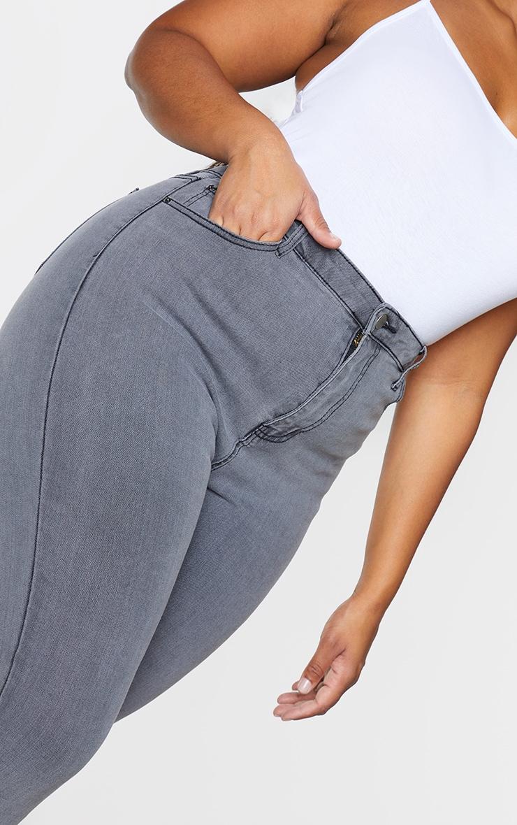PRETTYLITTLETHING Plus Grey 5 Pocket Skinny Jeans 4