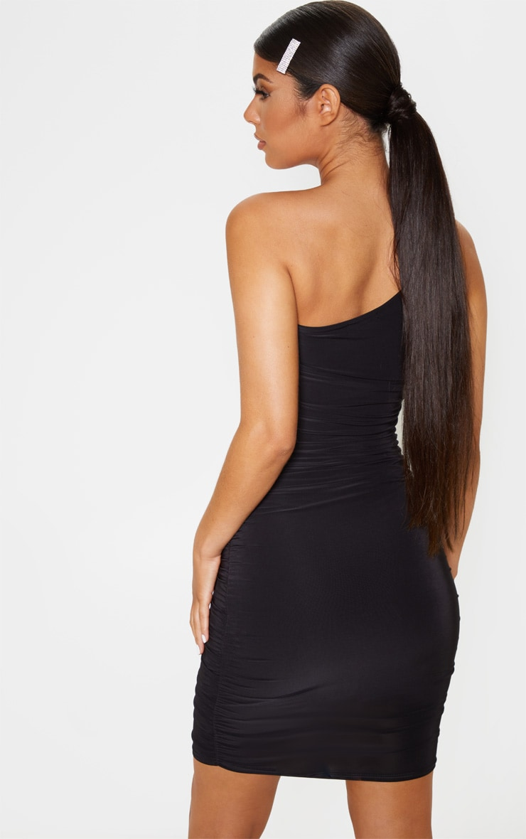 Black Slinky One Shoulder Ruched Bodycon Dress 2