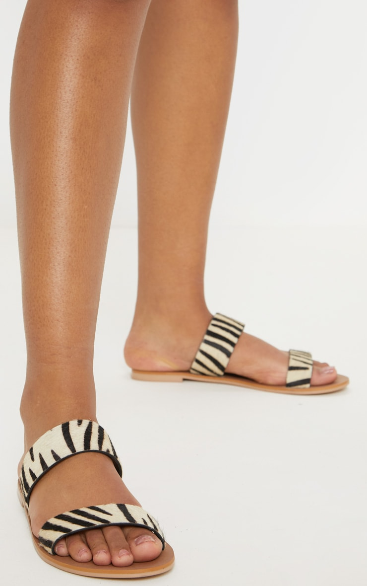 Zebra Twin Strap Basic Leather Sandal 2