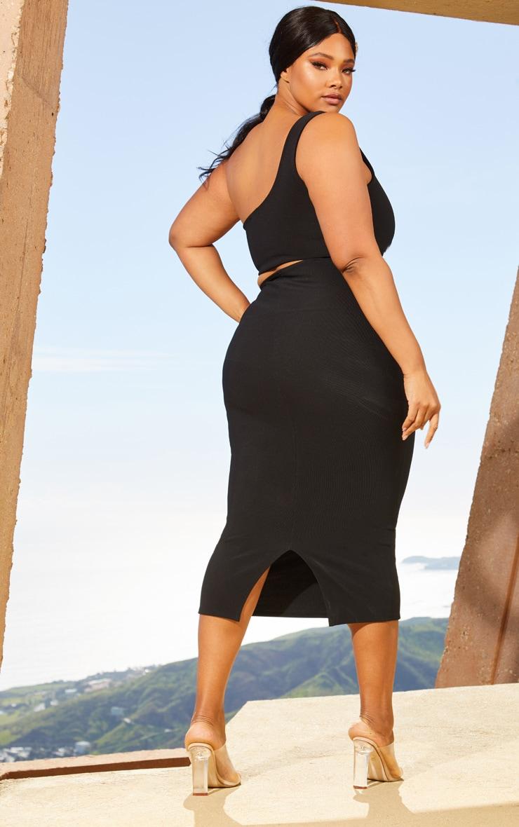 Plus Black Second Skin One Shoulder Cut Out Midaxi Dress 2