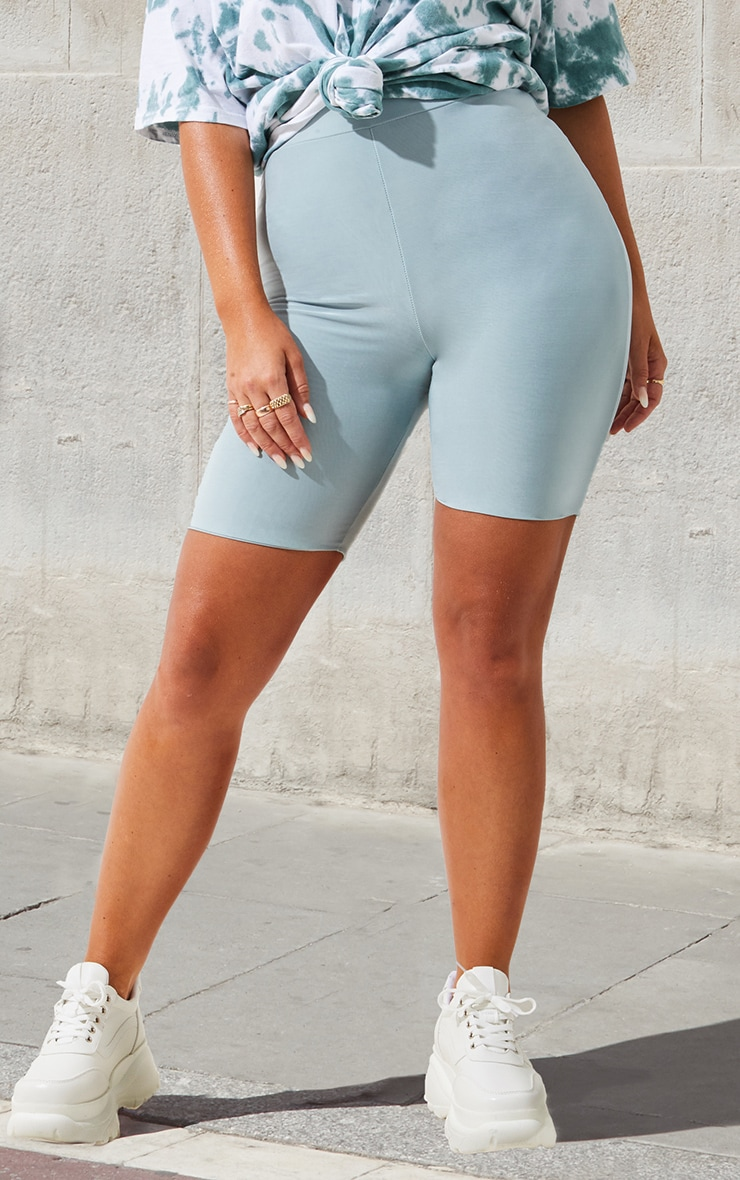 Petite Mint High Waist Slinky Cycling Shorts 2