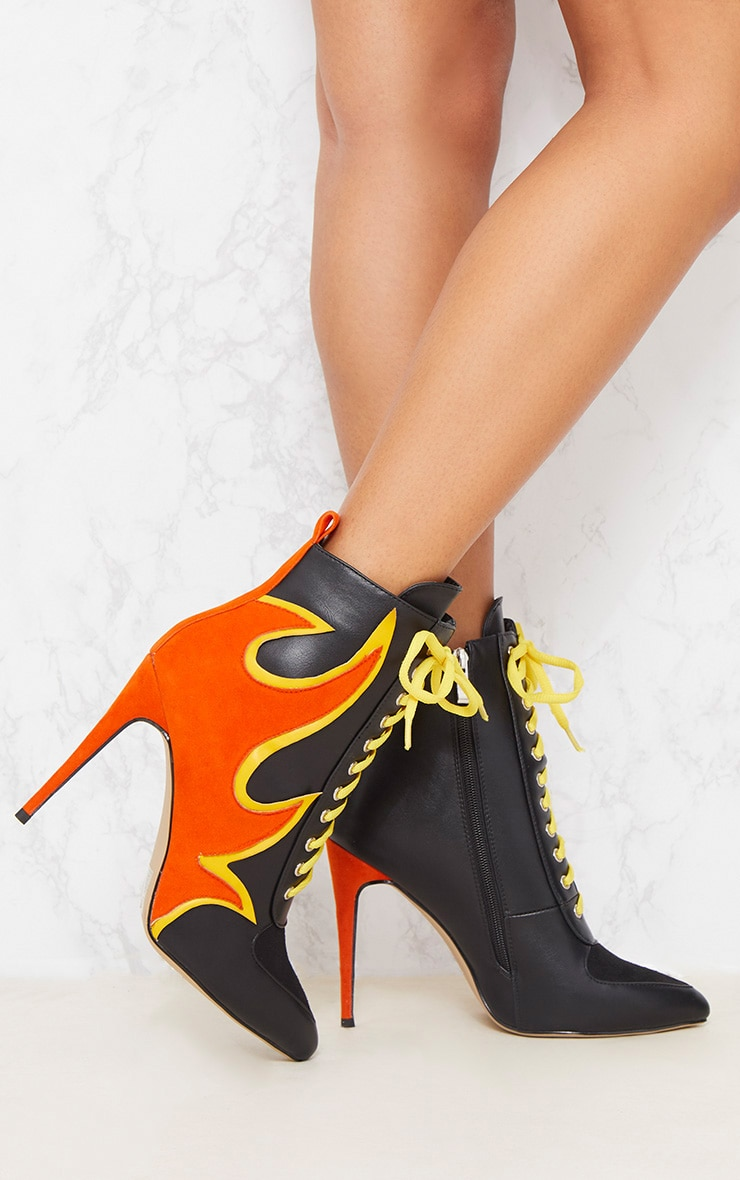 Black Flame Lace Up Ankle Boot 2