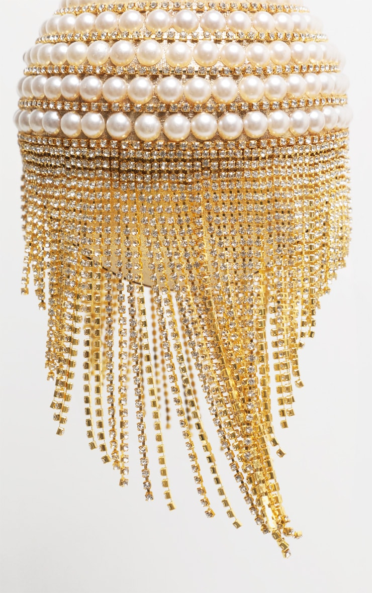 Gold Diamante And Pearl Large Sphere Bag 5
