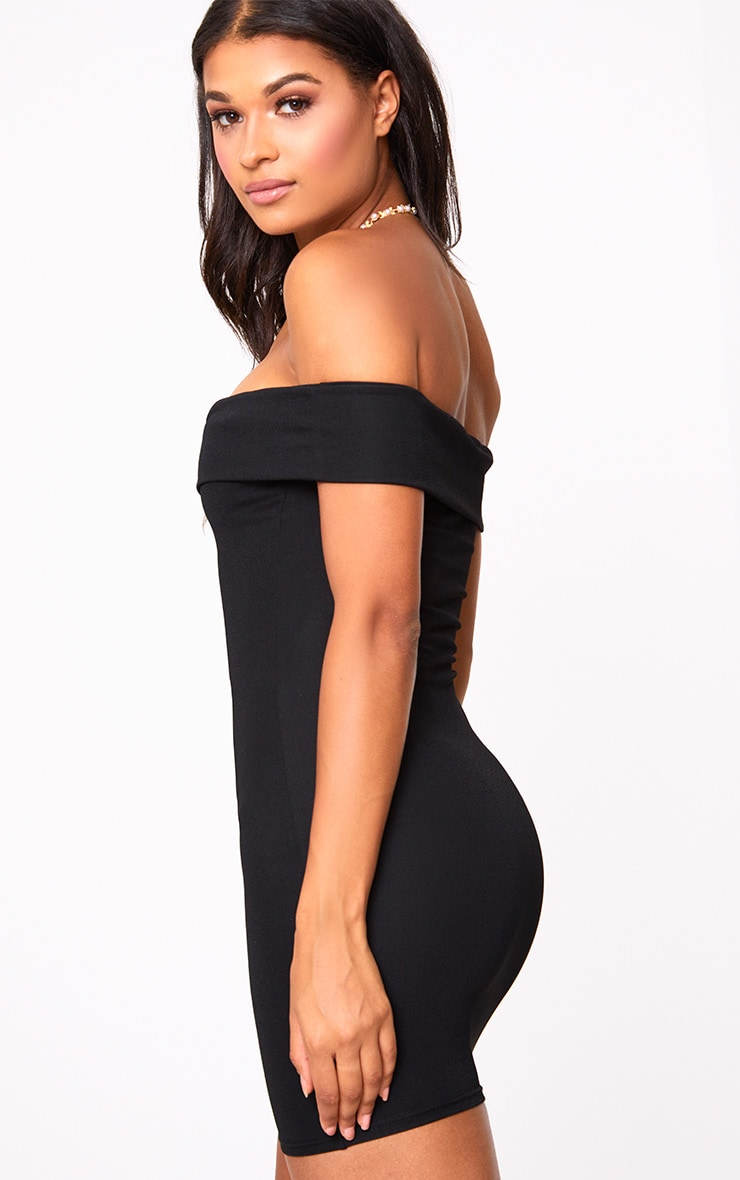 Black Bardot V Plunge Bodycon Dress 2