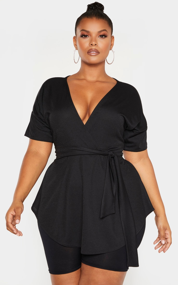 Plus Black Wrap Detail Short Sleeve Top 1