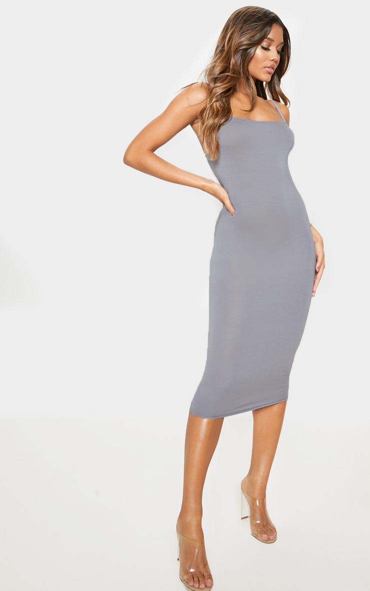 Charcoal Grey Strappy Midi Dress 4