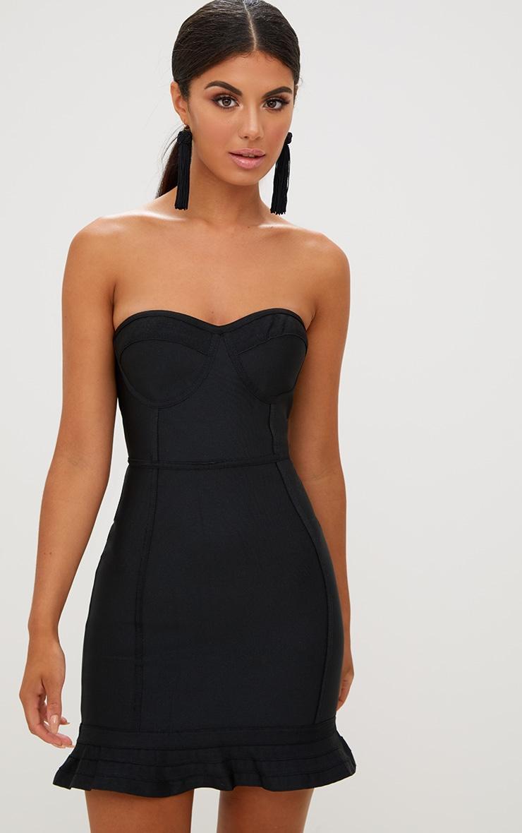 Black Bandage Frill Hem Bodycon Dress 1