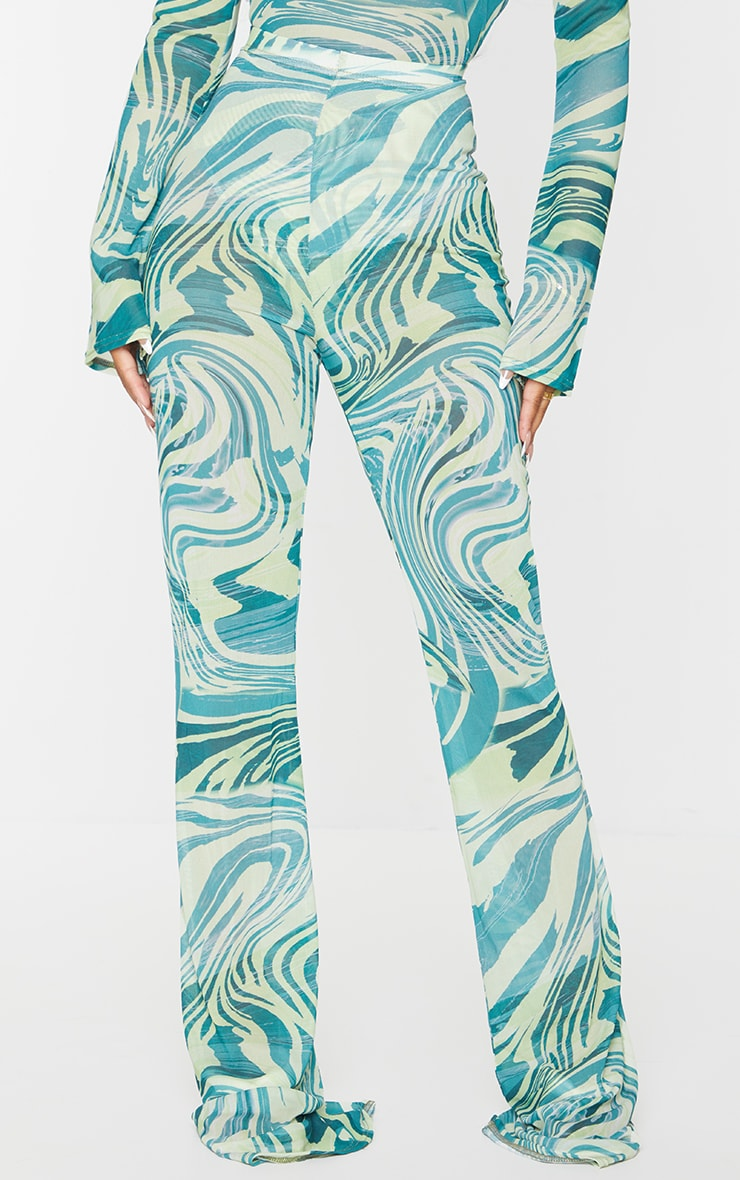 Petite Khaki Tiger Print Mesh Skinny Fit Flared Pants 2