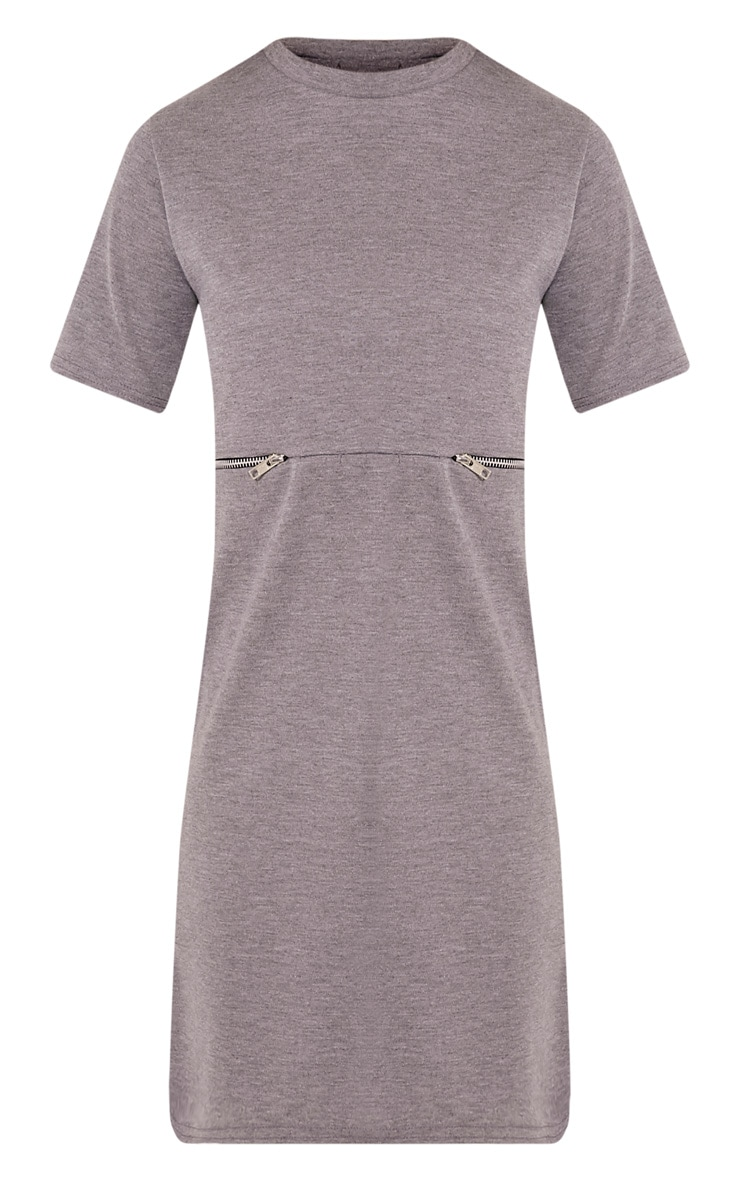 Kendie Grey Zip Detail T Shirt Dress 3