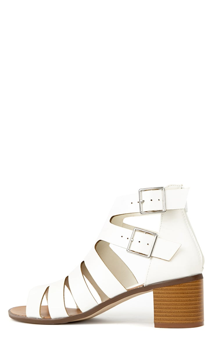 Juliana White Block Heel Sandal 1