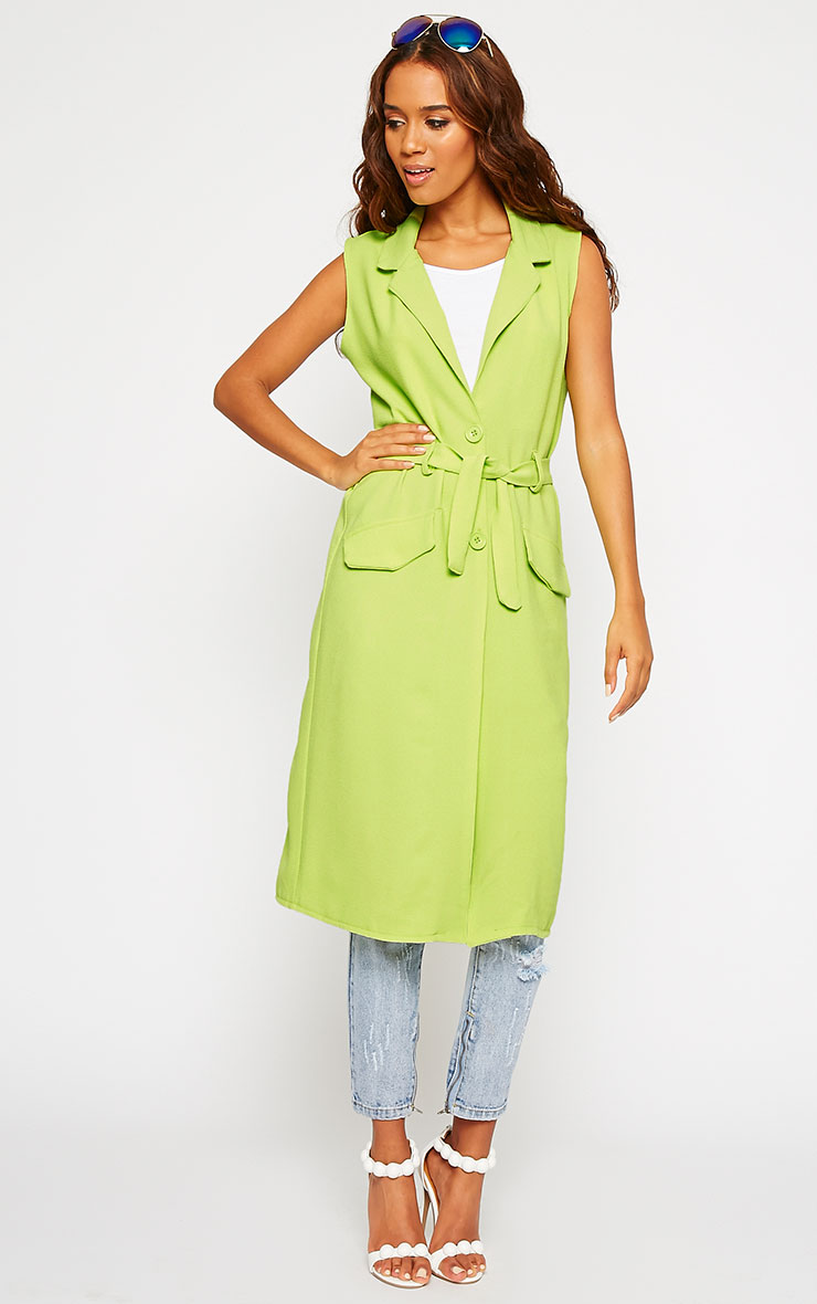 Phaedra Lime Crepe Longline Sleeveless Trench 1