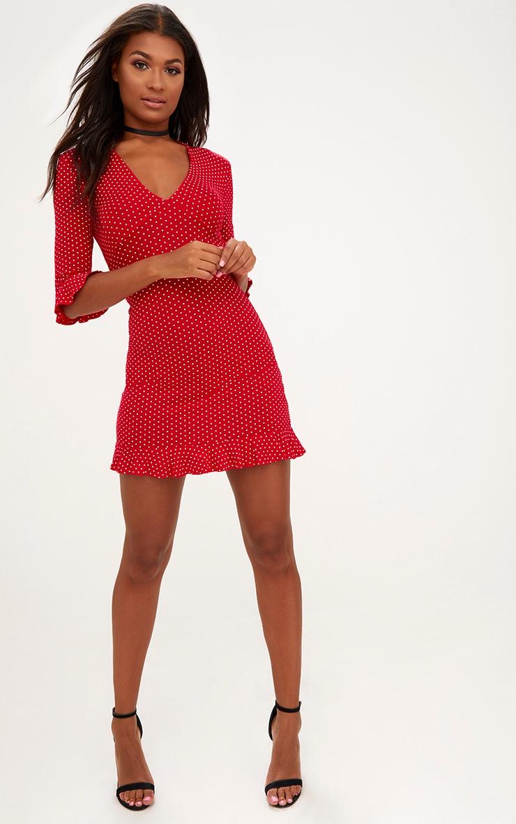 Red Polka Dot Frill Hem Shift Dress 4
