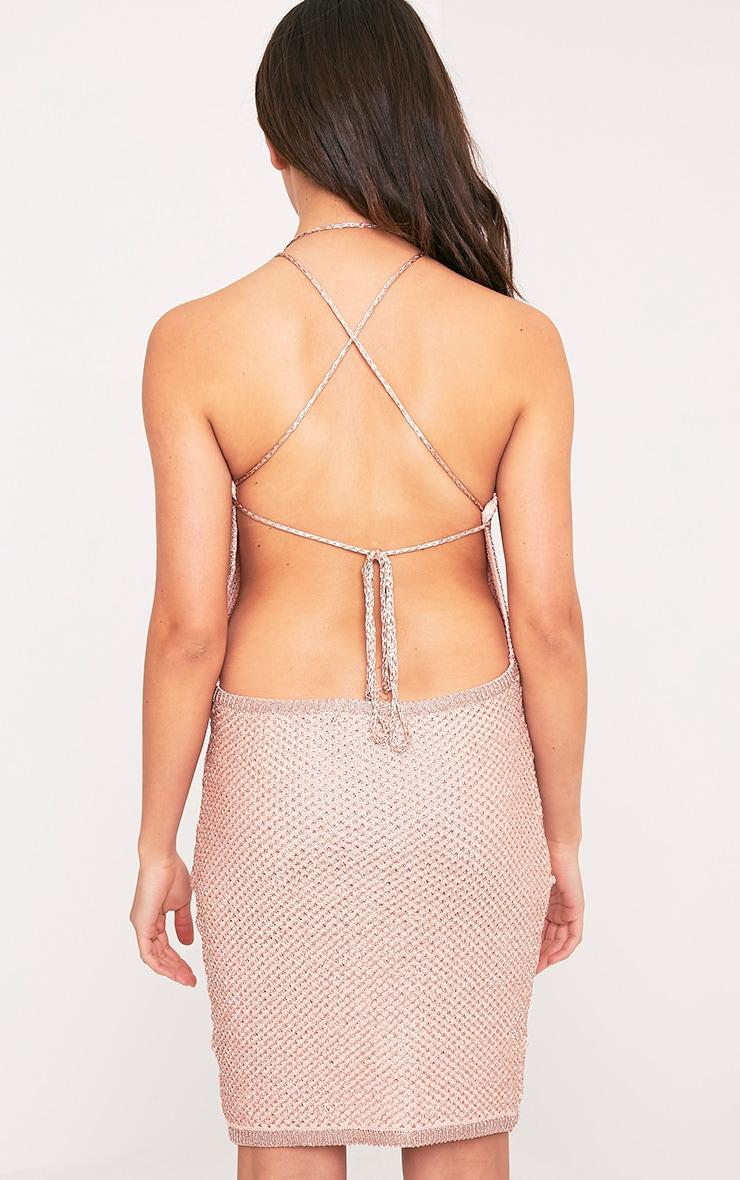 Peony robe mini dos nu or rose en tricot métallique 2