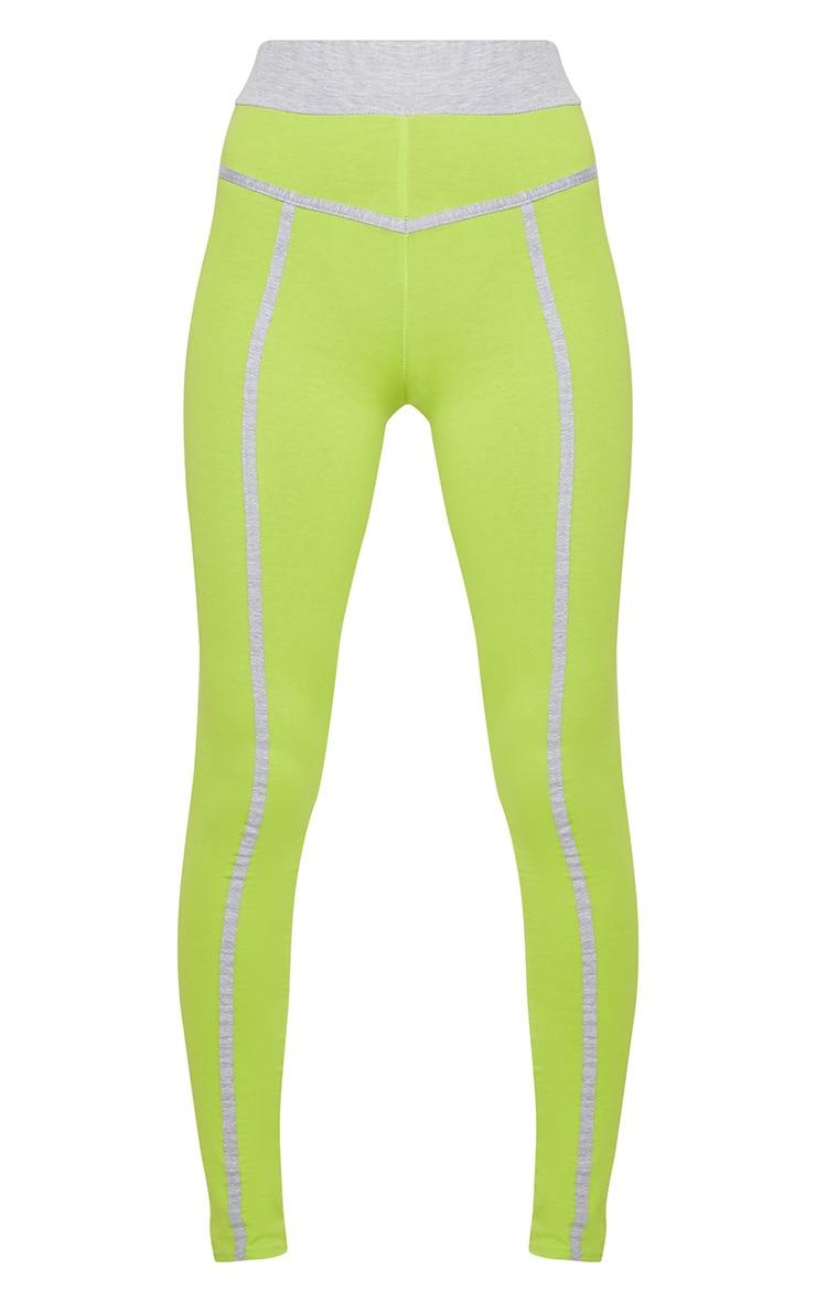 Lime Contrast Binding Sport Leggings 3