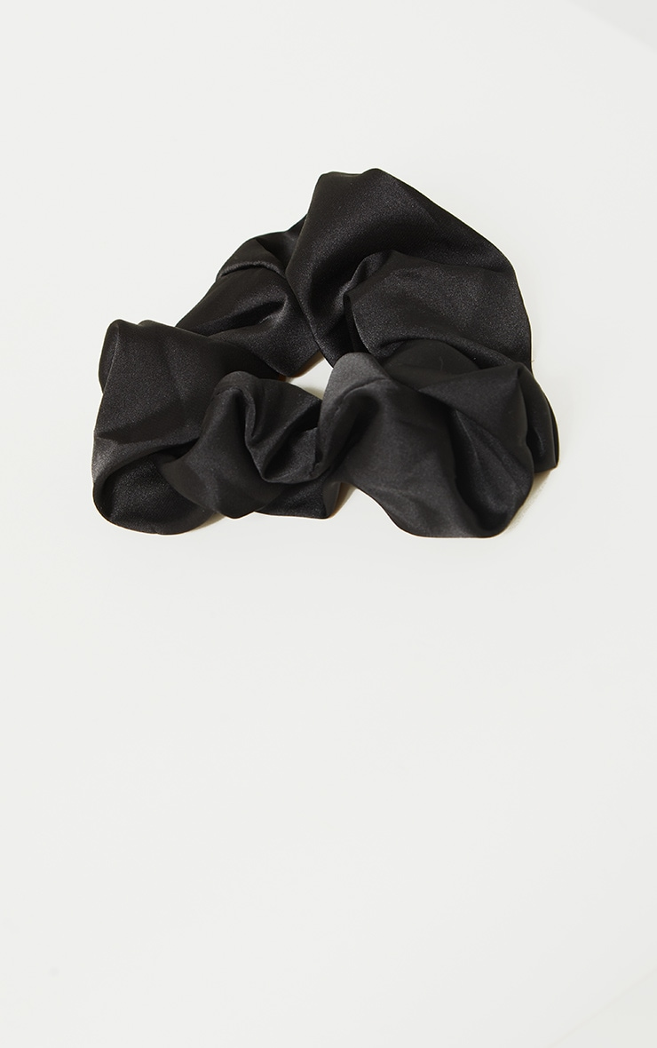 Black Satin Scrunchie 2