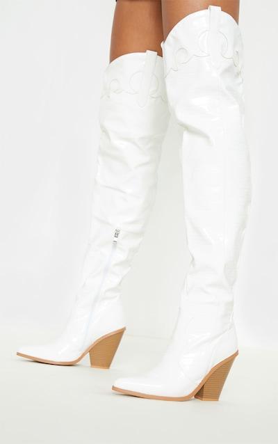 White Thigh High Croc Western Boot