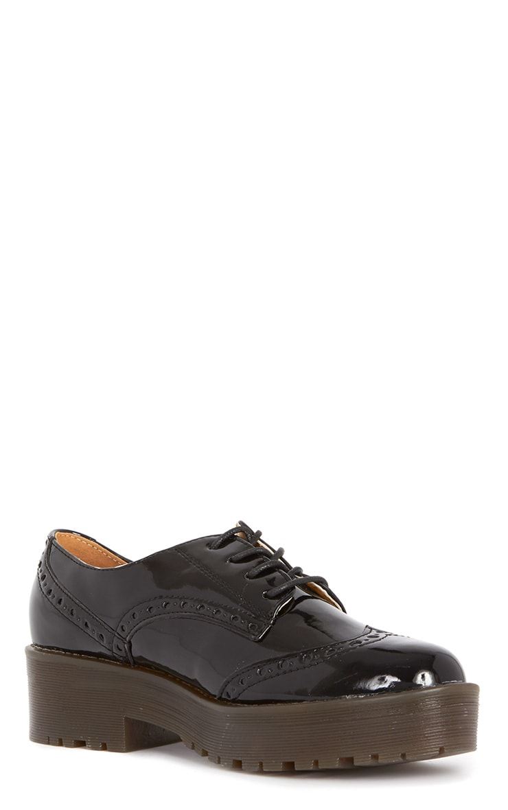 Taja Black Patent Brogue  2