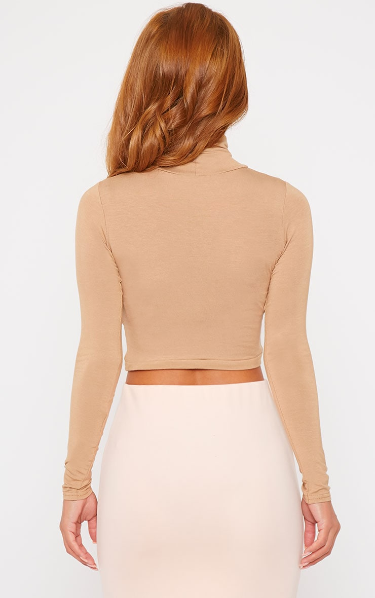 Basic Camel Roll Neck Crop Top 2