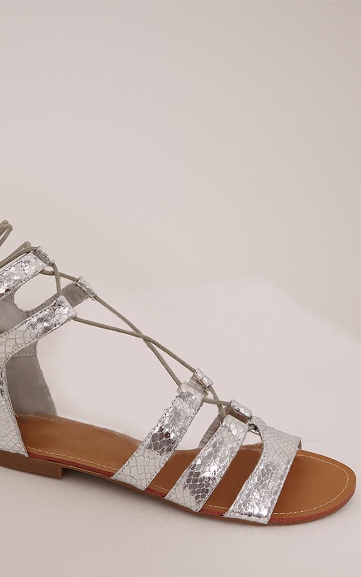 Bethan Silver Metallic PU Snakeprint Gladiator Sandals 3