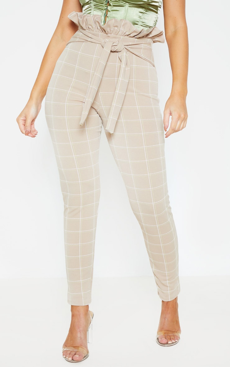 Stone Tweed Check Paperbag Skinny Pants 2
