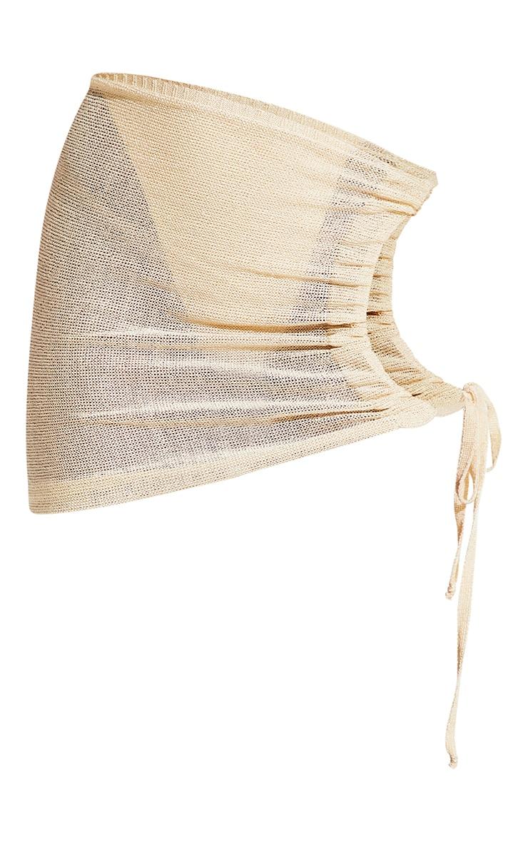 Cream Sheer Knit Cut Out Drawstring Knitted Sarong 9