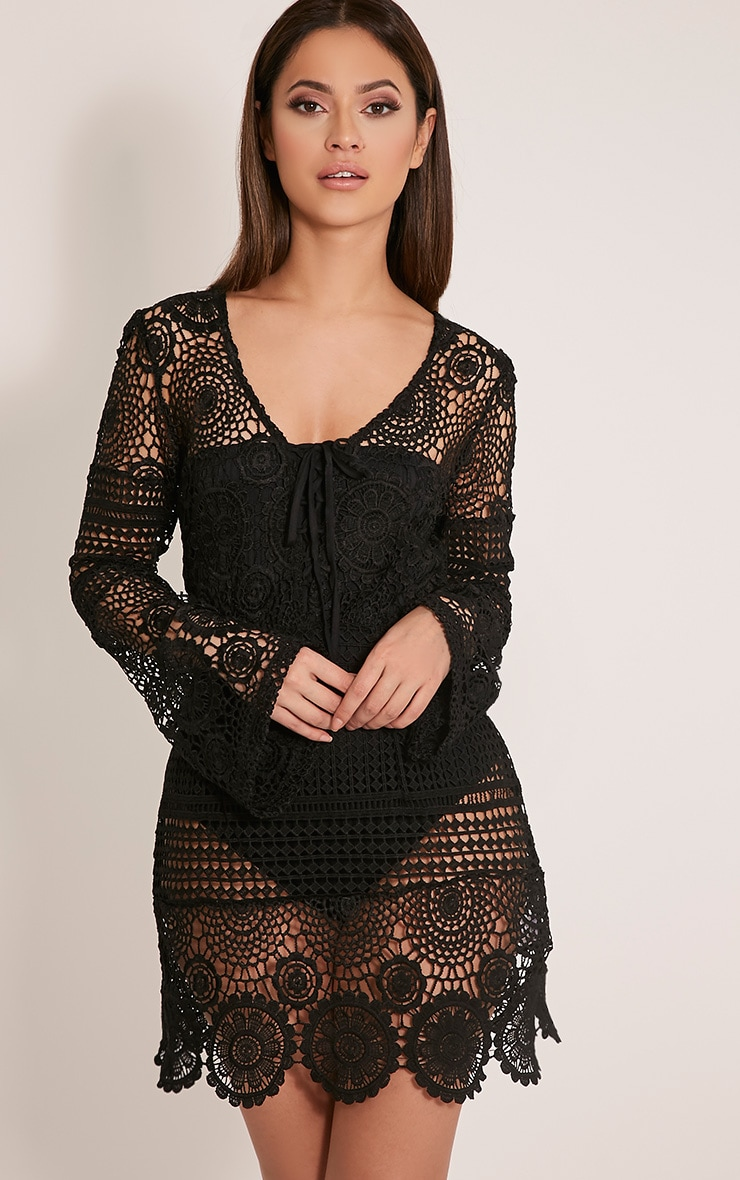 Breanna Black Tie Front Flare Sleeve Crochet Lace Dress 1