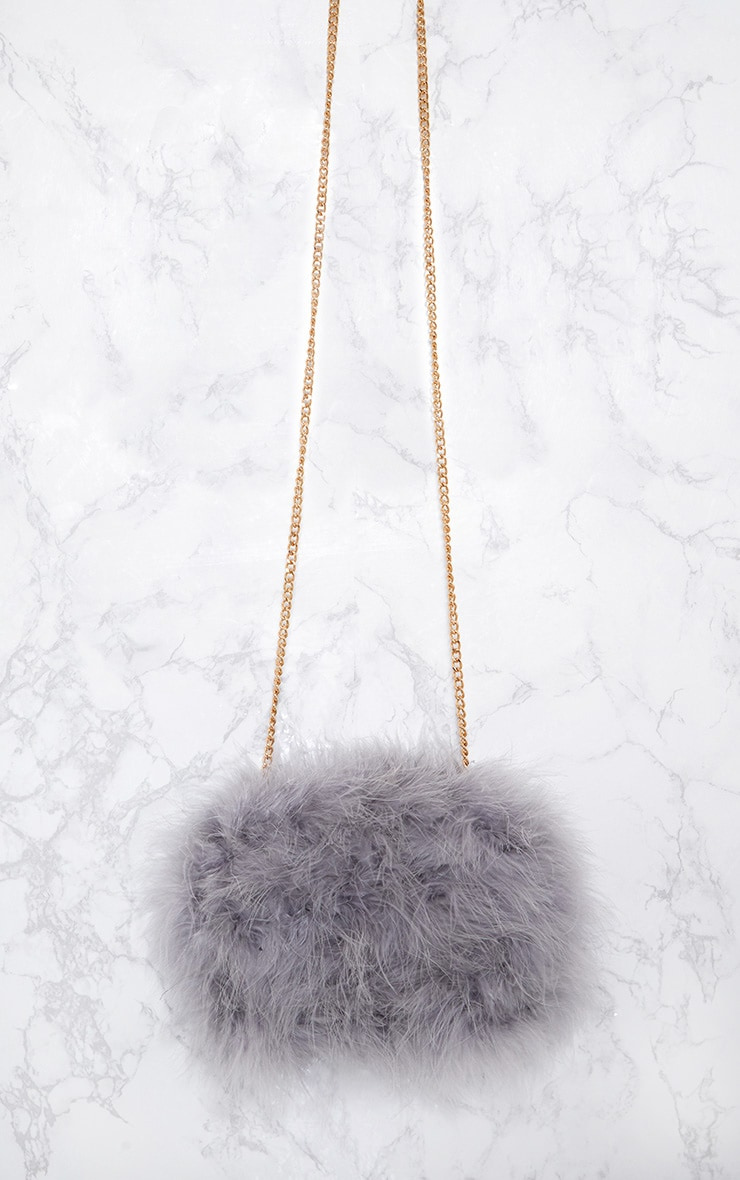 Grey Marabou Feather Clutch Bag 4