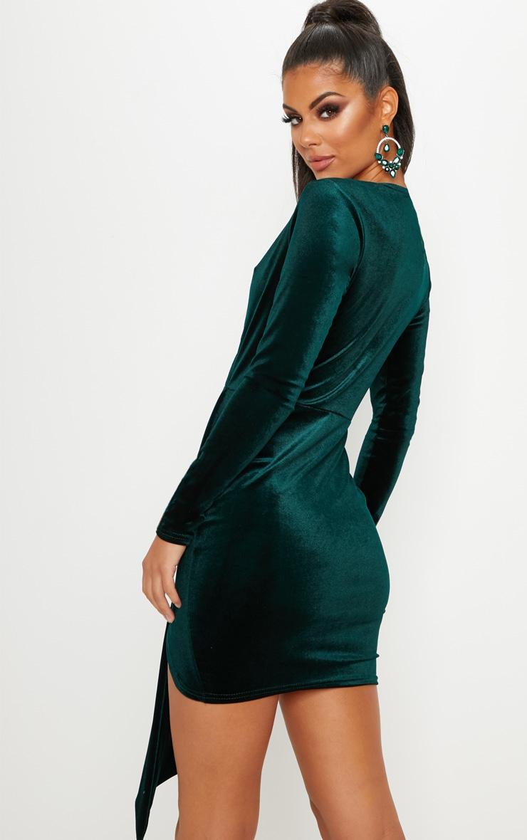 Emerald Green Velvet Drape Detail Bodycon Dress 2