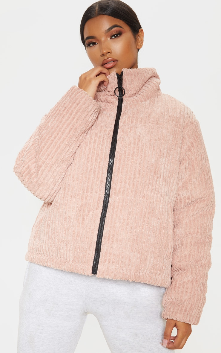 Rose Ribbed Textured Oversized Puffer 1