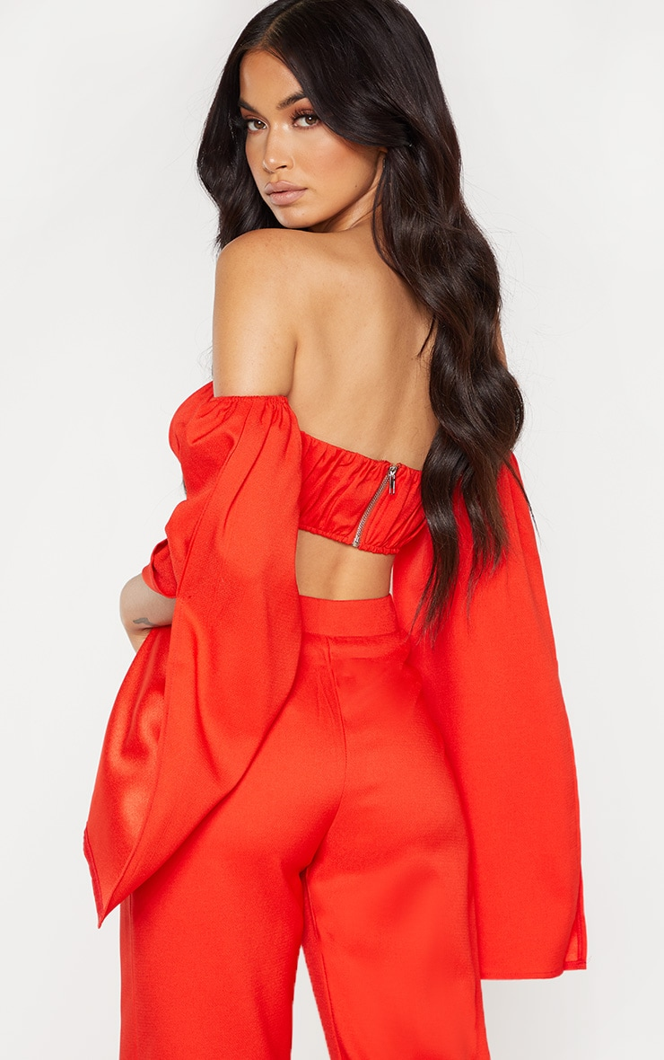 Red Bardot Split Sleeve Crop Top  2