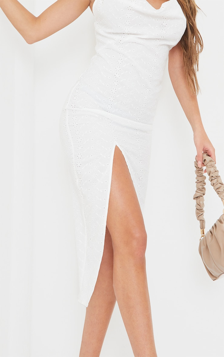White Broderie Anglaise Cowl Neck Strappy Midi Dress 4