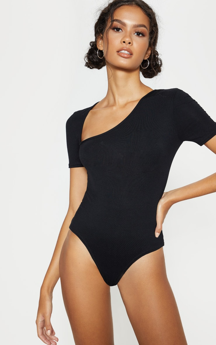 Black Asymmetrical Jersey Short Sleeve Thong Bodysuit 1