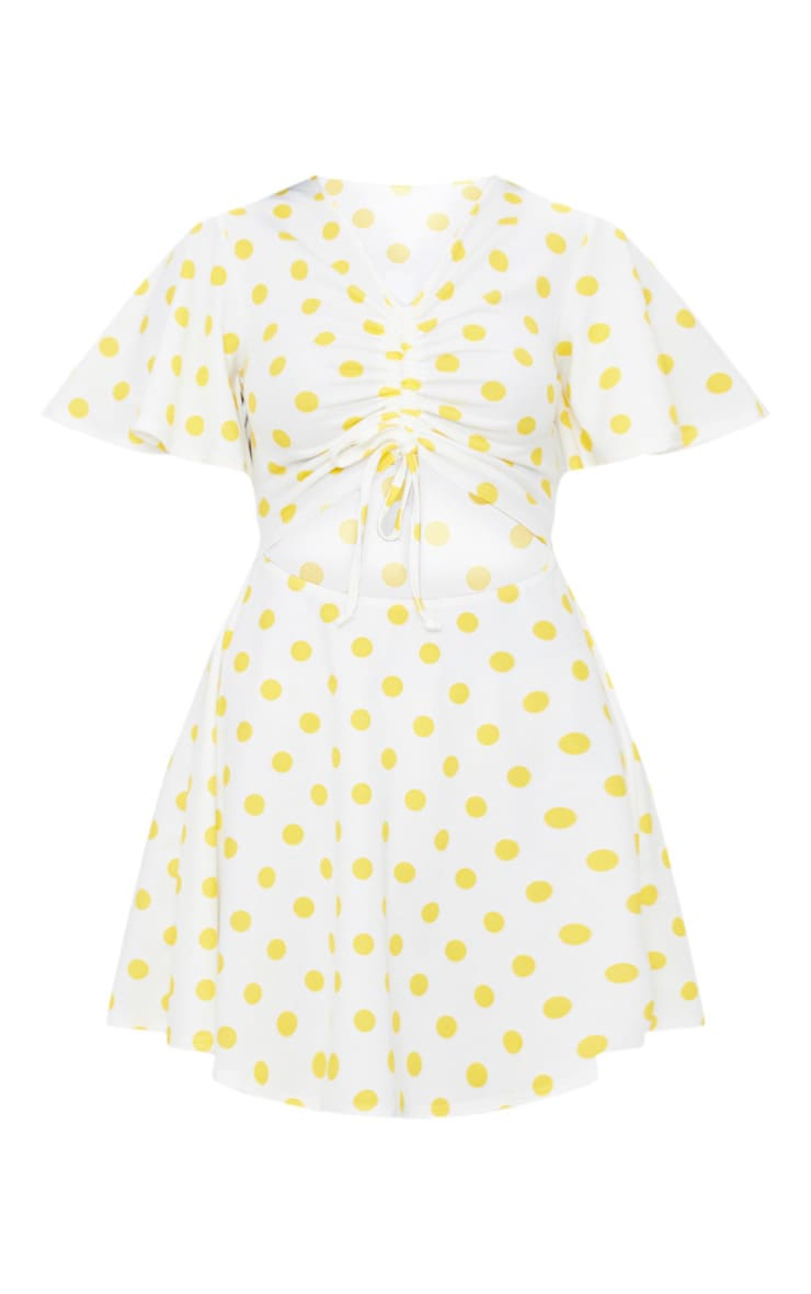 Yellow Polka Dot Cut Out Ruched Detail Swing Dress  3
