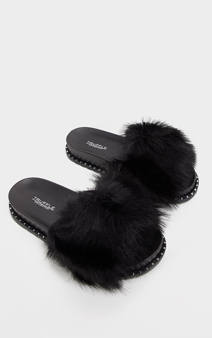 Black Faux Fur Studded Slides 3