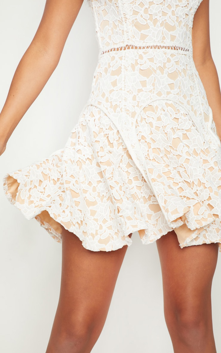 White Thick Lace High Neck Binding Detail Skater Dress 5