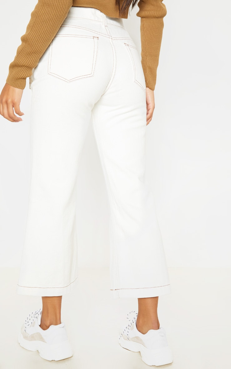 White Belted Wide Leg Cropped Jeans 3