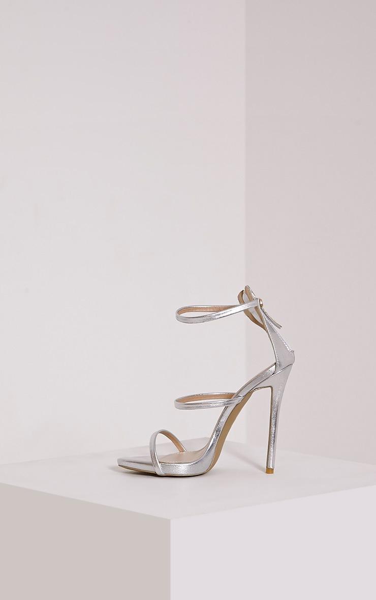 Asara Silver Metallic Heeled Sandals 4