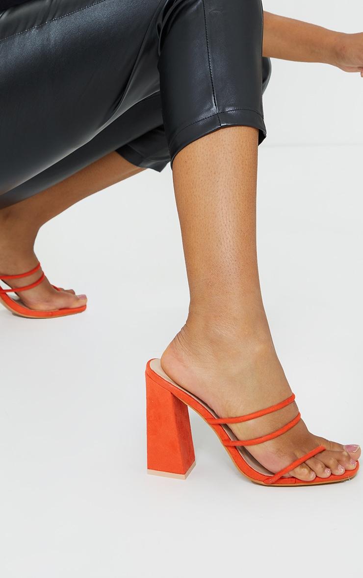 Orange Thin Triple Tube Strap Toe Loop Block Heel Mule 1