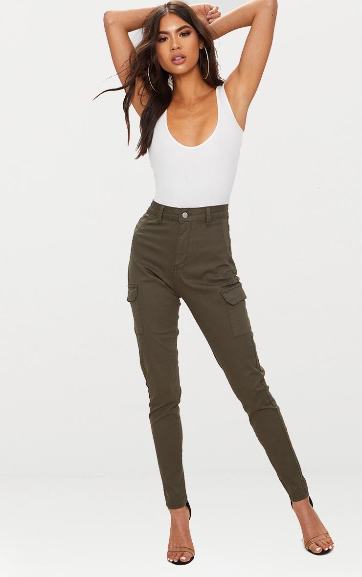 Khaki Pocket Detail Utility Skinny Jean 1