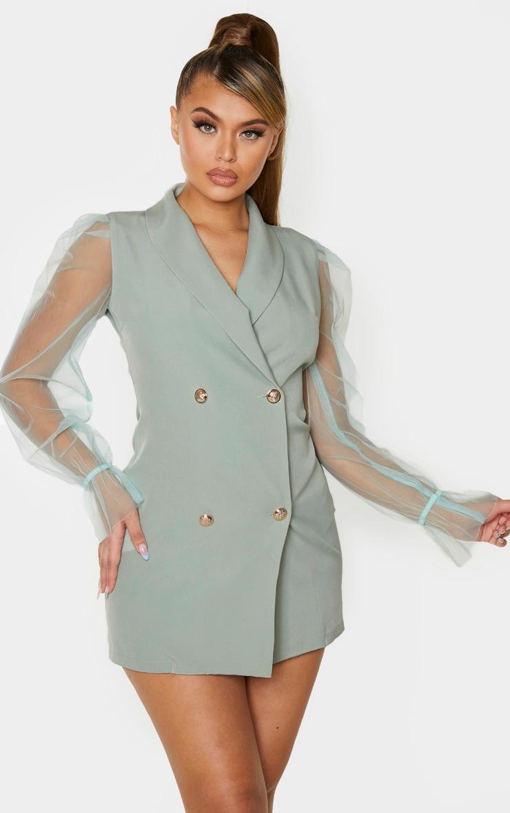 Sage Green Button Up Organza Sleeve Blazer Dress 1