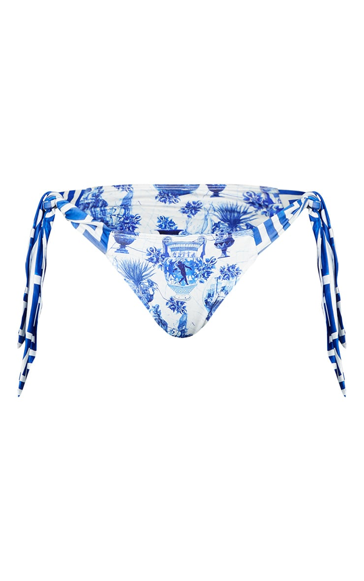 Blue Greek Key Print Tie Side Bikini Bottoms 5