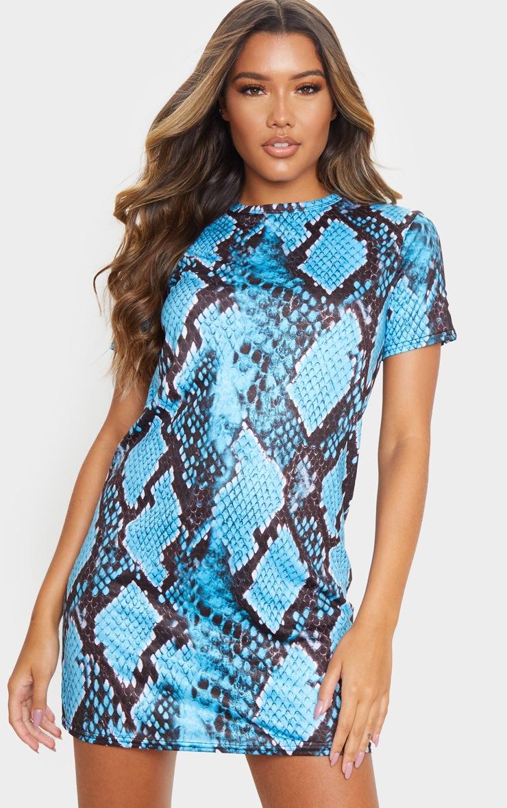 Turquoise Snake Print Short Sleeve T Shirt Dress 3