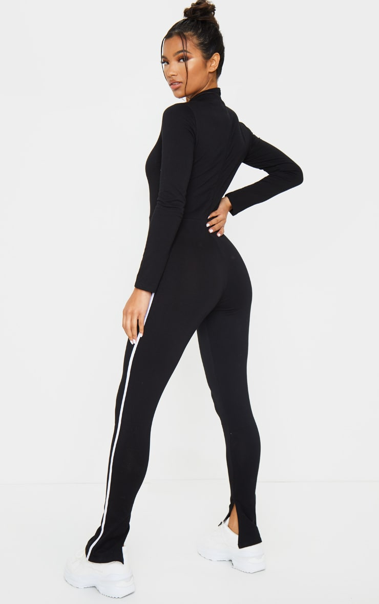 Black Sports Stripe High Neck Jumpsuit 2